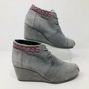 Aztec Embroidered Gray Suede Wedge Booties 8.5 M